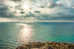 View of Black Sea from the cape Fiolent at sunset, near Sevastopol, Crimea peninsula. Picturesque sea landscape in HDR Stock Photography