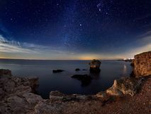 View of the Black Sea from the coast by night Stock Photos