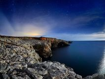 View of the Black Sea from the coast by night Stock Photography