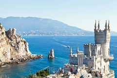 View of Black Sea coast with Swallow's Nest castle Stock Images