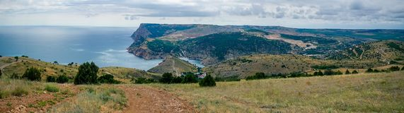 View of the Black Sea from the Crimean Mountains panorama Royalty Free Stock Photo
