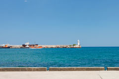 View of Black Sea and lighthouse in Yalta Royalty Free Stock Image