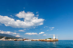 View of Black Sea and lighthouse in Yalta Royalty Free Stock Photography