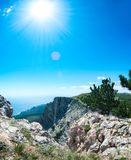View of the Black Sea from Mount Ai-Petri. Below the village of Alupka Big Yalta. Cloudy sunny weather.  stock photography