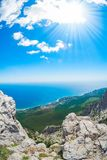 View of the Black Sea from Mount Ai-Petri. Below the village of Alupka Big Yalta. Cloudy sunny weather.  royalty free stock images