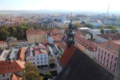 View from Black Tower Černá věž in České Budějovice, South Bohemia. Czech republic stock photography