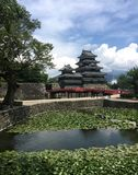 View of the black wooden Matsumoto Castle in Japan stock photos