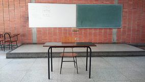 View of a blackboard and whiteboard and an emoty teachers desk. Royalty Free Stock Photo
