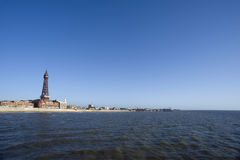 View of Blackpool seafront from the ocean Stock Photos