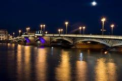 View on Blagoveschenskiy bridge in summer white nights, St. Petersburg. Blagoveschenskiy bridge at night in Saint-Petersburg, Russia Stock Image