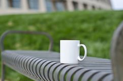 A blank white coffee mug on the park bench royalty free stock images