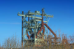 View blast furnace of an old steel mill Stock Photo