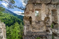 View from Blatnica castle, Slovakia. View on forest from Blatnica castle, Slovakia royalty free stock photos