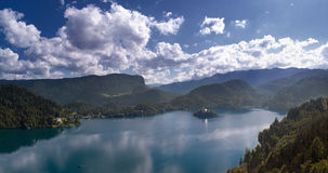 View of Bled. Panoramic view of Lake Bled, which consist of 17 shots Royalty Free Stock Images