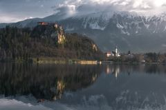 View of Bled Castle in Slovenia stock image
