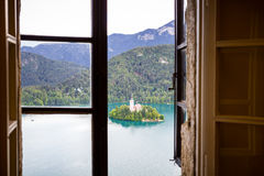 View of Bled Island from Bled Castle Stock Image