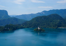 Bled lake and island, Slovenia, Europe Royalty Free Stock Images