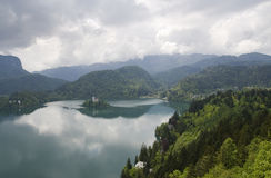 View of Bled lake with it's island Stock Photos
