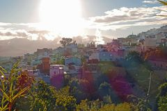 View on the blue city of Chefchaouen at sunset royalty free stock images