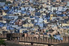 View of the Blue City from the Mehrangarh Fort Royalty Free Stock Image