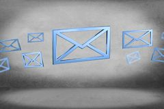 Blue Email symbol displayed on a color background - 3D rendering Royalty Free Stock Images