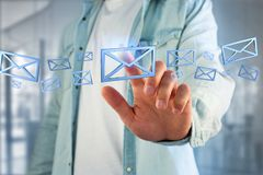 Blue Email symbol displayed on a color background - 3D rendering. View of Blue Email symbol displayed on a color background - 3D rendering Royalty Free Stock Photography