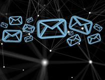 Blue Email symbol displayed on a futuristic interface - Message. View of a Blue Email symbol displayed on a futuristic interface - Message and internet concept Royalty Free Stock Photos