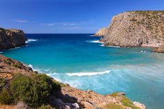 View on blue lagoon in Cala Domestica, Sardinia, Italy. royalty free stock images