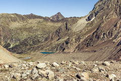 View of the of the blue lake in Stubai Alps. View of the Sulzenauferner Glacier valley and the blue lake in Stubai Alps, Austria royalty free stock image