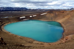 View of the blue Lake Viti on a background of snowy peaks in Iceland.  Stock Photo