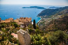 Stunning view of the blue Mediterranean from the charming town of Eze royalty free stock photos