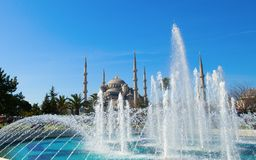View of Blue Mosque with fountain Royalty Free Stock Image