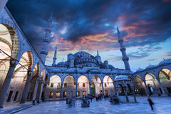 View of Blue Mosque in Istanbul with beautiful sunset sky Royalty Free Stock Images