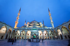 View of Blue Mosque in Istanbul with night illumination. Royalty Free Stock Photo