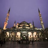 View of Blue Mosque in Istanbul with night illumination. Royalty Free Stock Photos