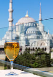 View of the Blue Mosque from the restaurant, Istanbul, Turkey Royalty Free Stock Photos