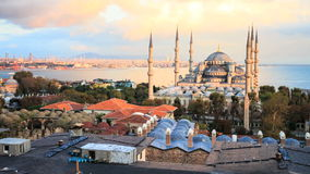 View of blue mosque and the sea stock footage