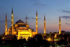 View of the Blue Mosque (Sultanahmet Camii). At dawn in Istanbul Royalty Free Stock Images