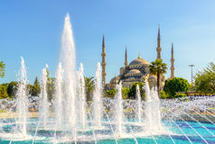 View of the Blue Mosque (Sultanahmet Camii) in Istanbul. View of the Blue Mosque (Sultanahmet Camii) with fountain in Istanbul, Turkey Stock Photography