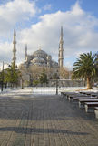 View of the Blue mosque a sunny january day. Istanbul Royalty Free Stock Images