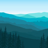 View of blue mountains with forest. Royalty Free Stock Images