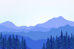 View of blue mountains with forest. Stock Image