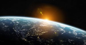 View of blue planet Earth in space 3D rendering elements of this. View of blue planet Earth in space with her atmosphere America continent 3D rendering elements Stock Photo