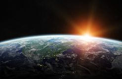 View of blue planet Earth in space 3D rendering elements of this. View of blue planet Earth in space with her atmosphere America continent 3D rendering elements Stock Images