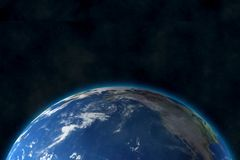 View of blue planet Earth in space. 3D rendering, elements of this image furnished by NASA vector illustration