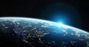View of blue planet Earth in space 3D rendering elements of this. View of blue planet Earth in space with her atmosphere America continent 3D rendering elements Royalty Free Stock Image