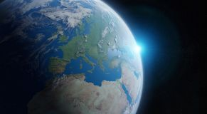 View of blue planet Earth in space 3D rendering elements of this. View of blue planet Earth in space with her atmosphere Europe continent 3D rendering elements Stock Photo