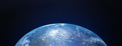View of blue planet Earth from space. 3D rendering royalty free illustration