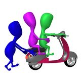 View blue puppy hold behind pink scooter Royalty Free Stock Images