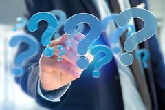 Blue question mark displayed on a futuristic interface - 3d rend Stock Image